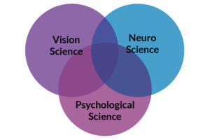 Venn diagram showing overlap of vision, neuro and psychological sciences